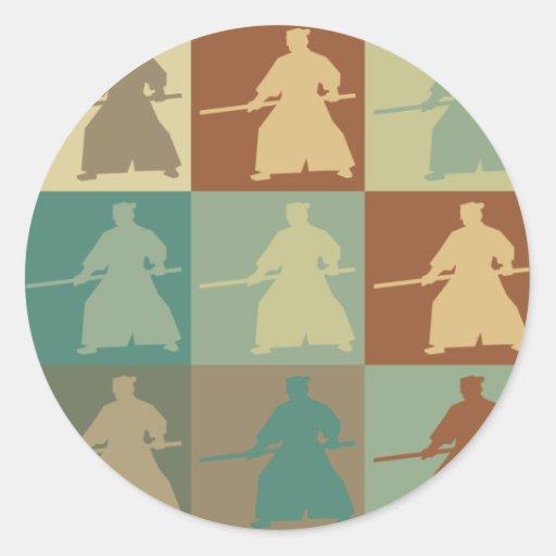 Arte pop del Aikido Pegatina Redonda