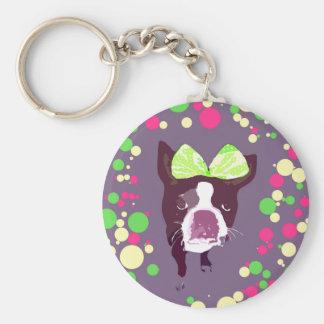 Arte pop del arco del chica de Boston Terrier Llavero Redondo Tipo Pin
