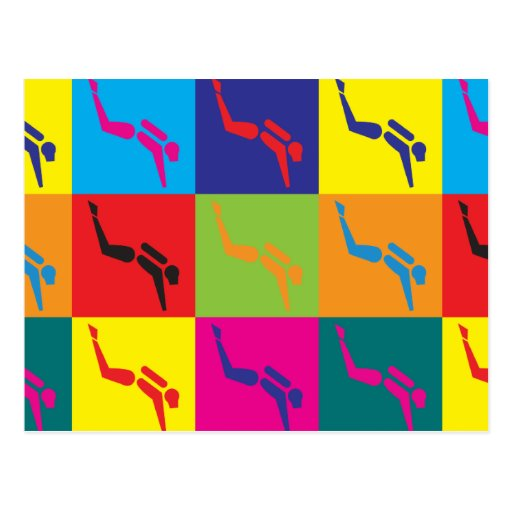 Arte pop del buceo con escafandra postales