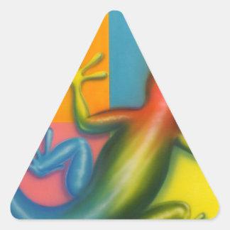 Arte pop del camaleón de las karmas pegatinas triangulo