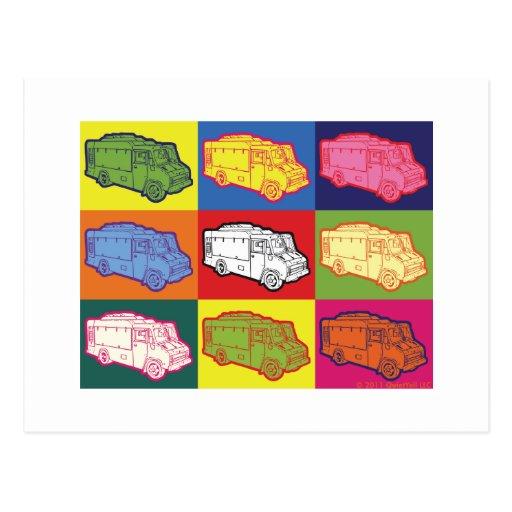 Arte pop del camión de la comida tarjetas postales