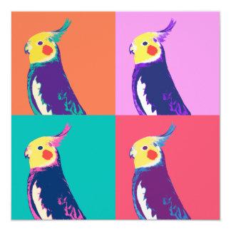 """Arte pop del Cockatiel Invitación 5.25"""" X 5.25"""""""