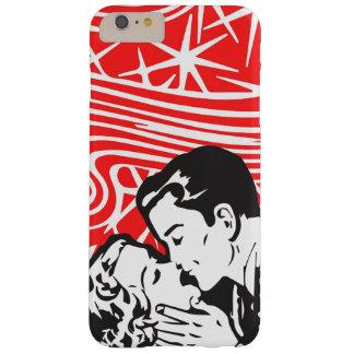 Arte pop del estilo del beso del cómic en rojo, funda de iPhone 6 plus barely there