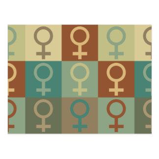 Arte pop del feminismo tarjeta postal