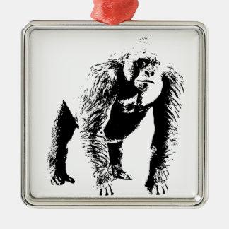 Arte pop del gorila adorno navideño cuadrado de metal