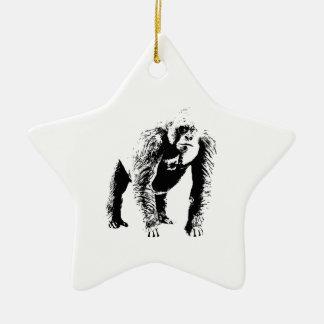 Arte pop del gorila adorno navideño de cerámica en forma de estrella
