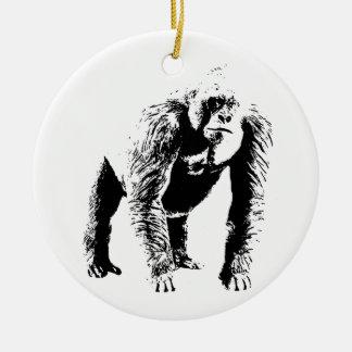Arte pop del gorila adorno navideño redondo de cerámica