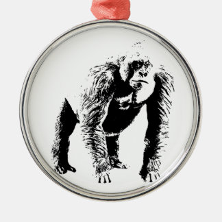 Arte pop del gorila adorno navideño redondo de metal