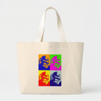 Arte pop del gorila bolsa tela grande
