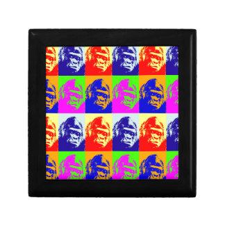 Arte pop del gorila joyero cuadrado pequeño