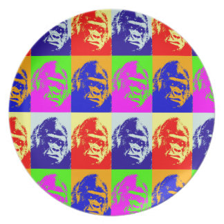Arte pop del gorila plato para fiesta