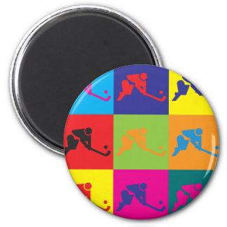Arte pop del hockey hierba imán redondo 5 cm