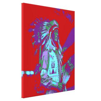 Arte pop del jefe indio lienzo envuelto para galerías