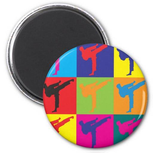 Arte pop del karate imán redondo 5 cm