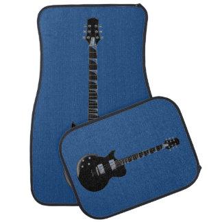 Arte pop del negro azul de la guitarra eléctrica alfombrilla de auto
