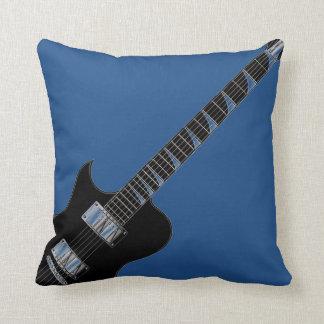Arte pop del negro azul de la guitarra eléctrica cojín