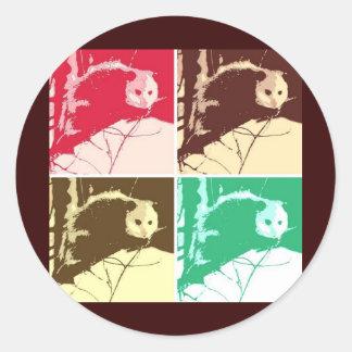 Arte pop del oposum etiqueta redonda
