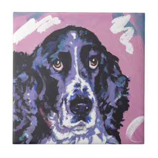 arte pop del perro de aguas de saltador azulejo cuadrado pequeño