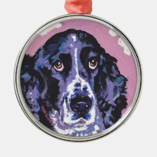 arte pop del perro de aguas de saltador adorno redondo plateado