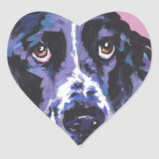 arte pop del perro de aguas de saltador pegatina en forma de corazón