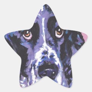 arte pop del perro de aguas de saltador pegatina en forma de estrella