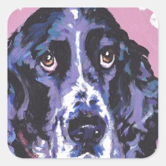 arte pop del perro de aguas de saltador pegatina cuadrada