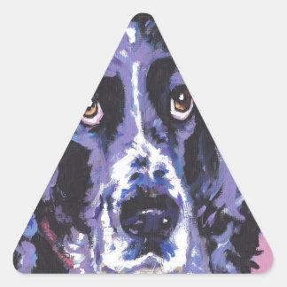 arte pop del perro de aguas de saltador pegatina triangular