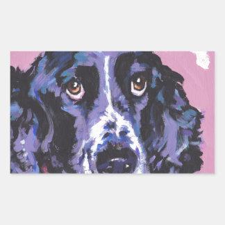 arte pop del perro de aguas de saltador pegatina rectangular