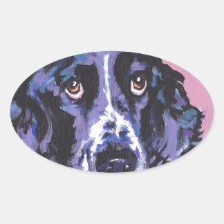 arte pop del perro de aguas de saltador pegatina ovalada