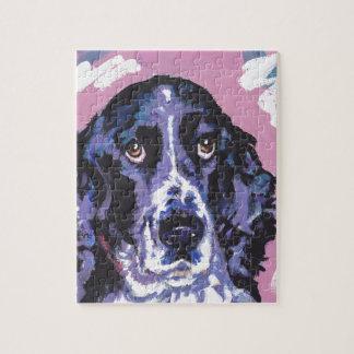 arte pop del perro de aguas de saltador puzzle con fotos
