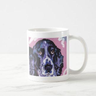 arte pop del perro de aguas de saltador taza básica blanca