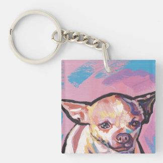 Arte pop del perro de la chihuahua llavero cuadrado acrílico a doble cara