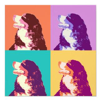 Arte pop del perro de montaña de Bernese Invitación 13,3 Cm X 13,3cm