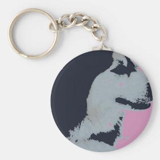 Arte pop del perro del Malamute Llavero Redondo Tipo Pin