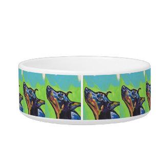 Arte pop del perro del Pinscher del Doberman Comedero Para Mascota