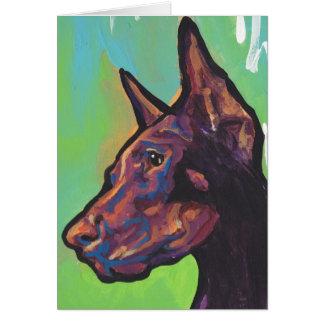Arte pop del perro del Pinscher del Doberman Tarjeta De Felicitación