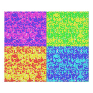 Arte pop del plástico de burbujas del arco iris póster