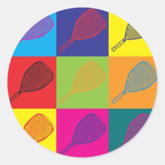 Arte pop del Racquetball Pegatina Redonda