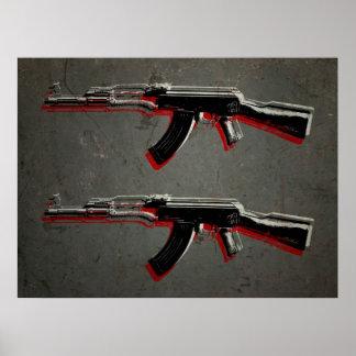 Arte pop del rifle de asalto de AK47 Póster