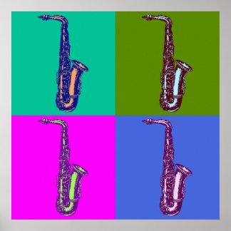 Arte pop del saxofón del alto posters