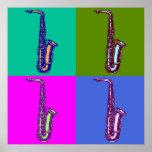 Arte pop del saxofón del alto póster