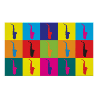 Arte pop del saxofón póster
