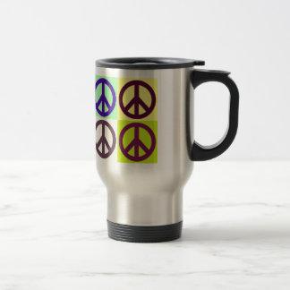 Arte pop del signo de la paz taza de viaje de acero inoxidable