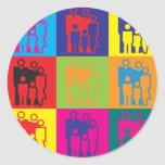 Arte pop del trabajo social pegatinas redondas