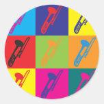 Arte pop del Trombone Pegatinas Redondas
