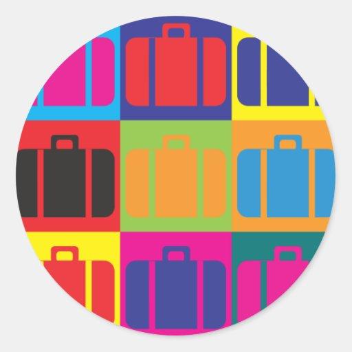 Arte pop del viaje etiquetas redondas