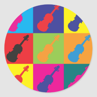 Arte pop del violín pegatina redonda