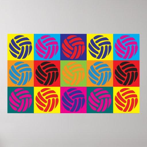 Arte pop del voleibol póster