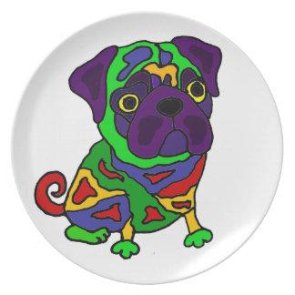 Arte pop divertido del perro del barro amasado platos para fiestas