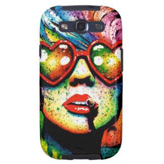 Arte pop en forma de corazón de las gafas de sol d samsung galaxy s3 cárcasa